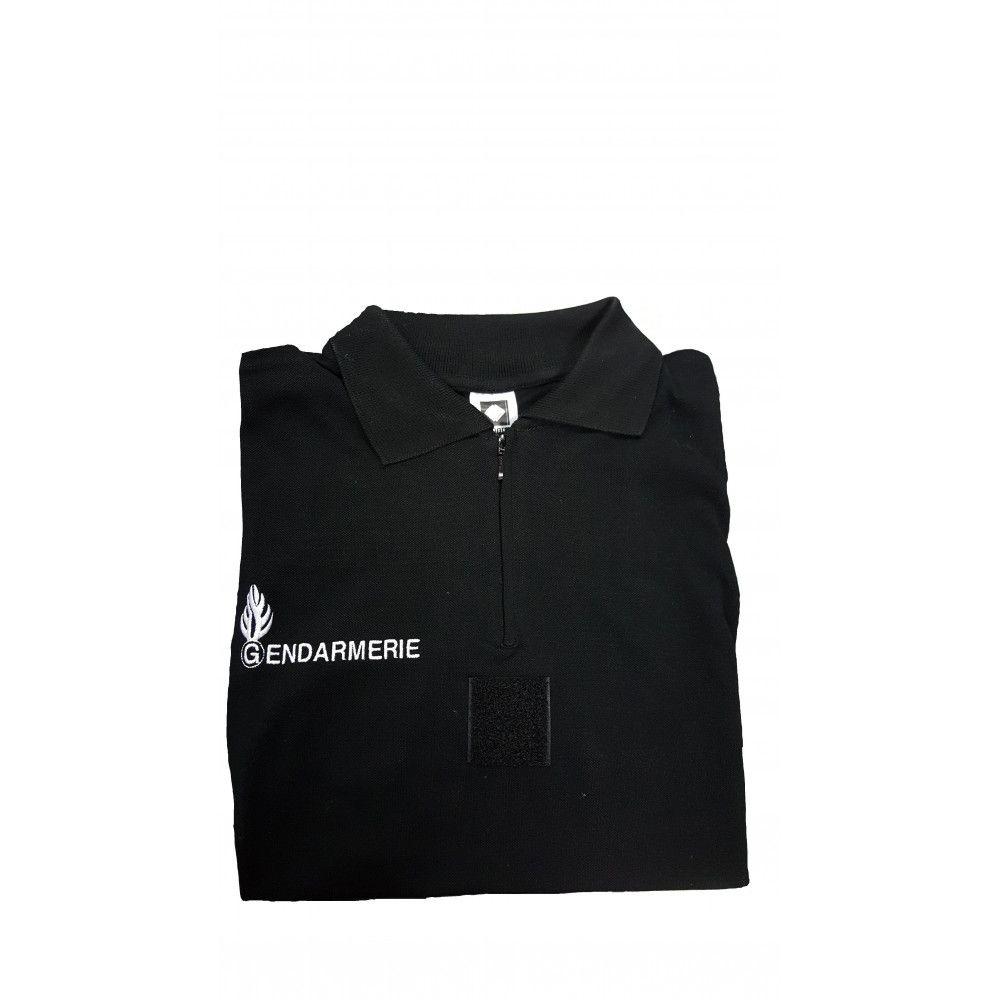 Polo noir col zippé