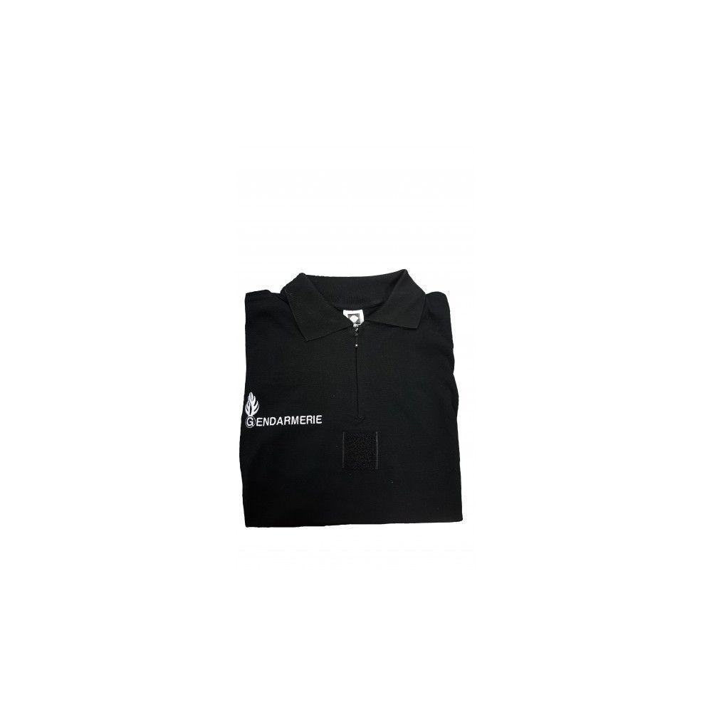 Polo noir brodé Gendarmerie col zippé
