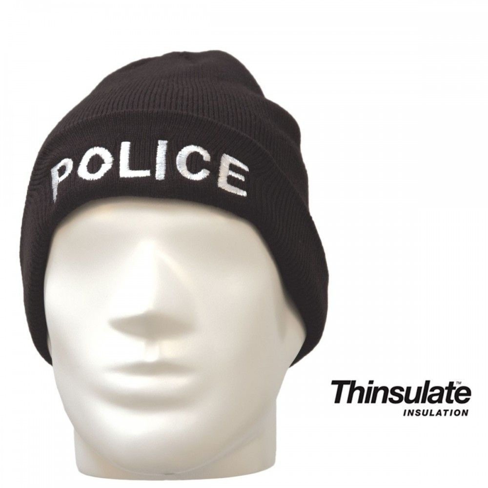 BONNET NOIR MAILLE THINSULATE BRODE POLICE