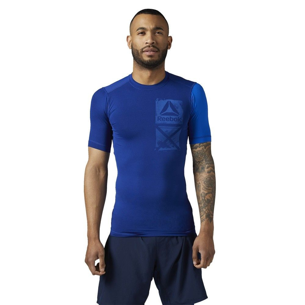 TEE SHIRT COMPRESSION REEBOK BLEU
