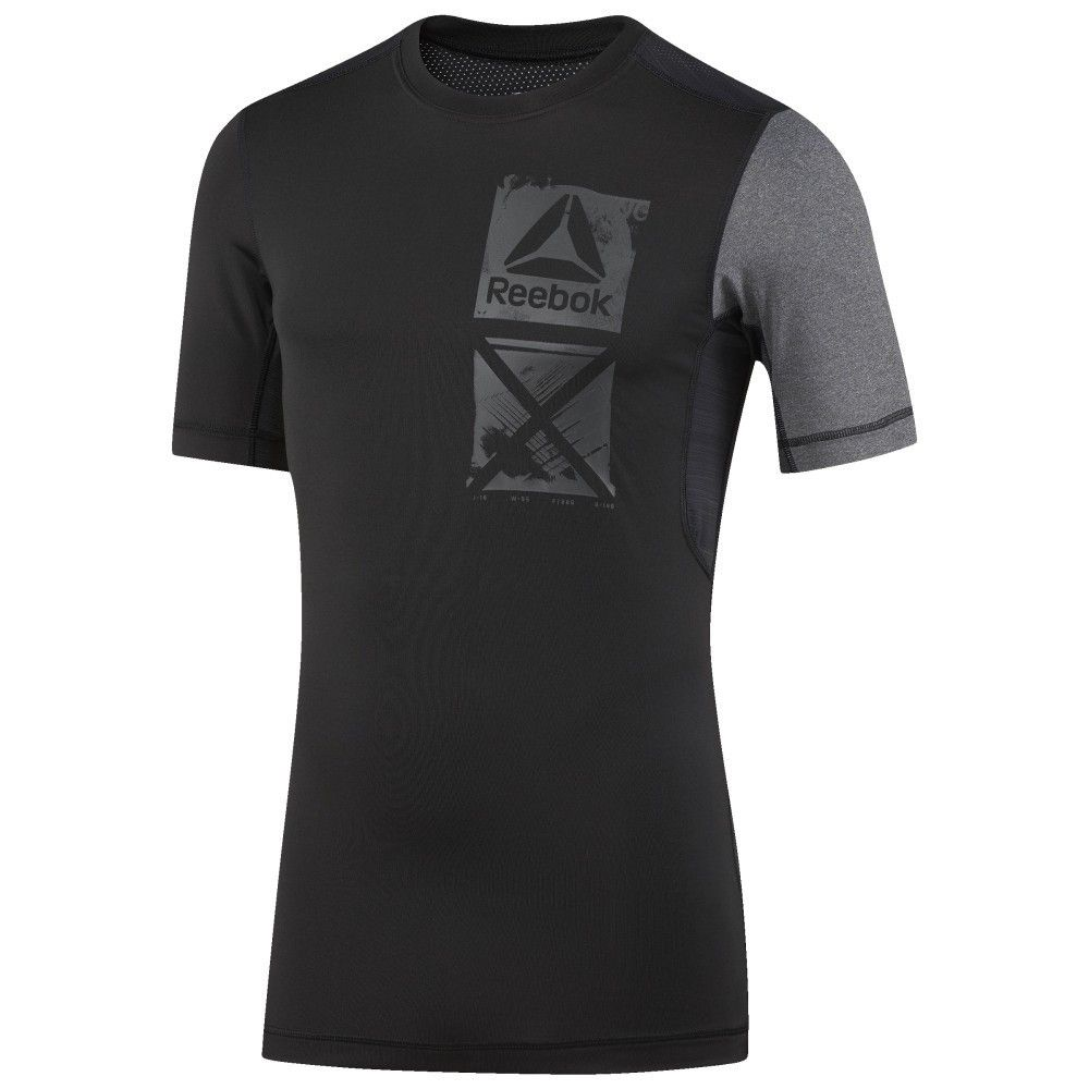 TEE SHIRT COMPRESSION GRAPHIC REEBOK NOIR