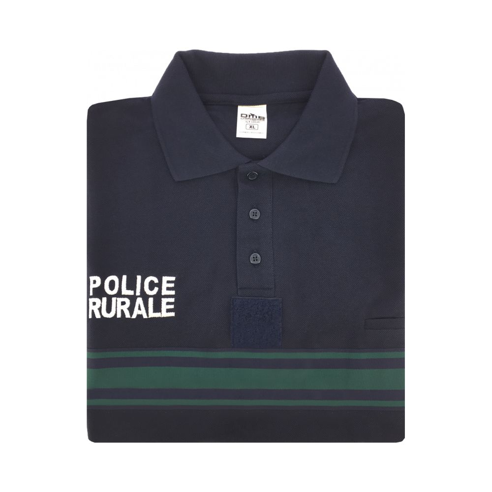 Polo manches longues bande verte Police Rurale