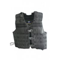 Gilet d'intervention noir Molle porte-plaque Shadow
