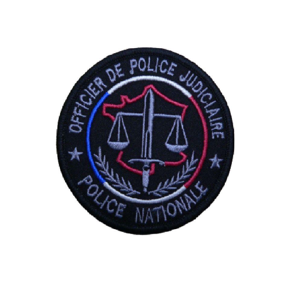 Ecusson de bras brodé OPJ Police Nationale - Fond noir