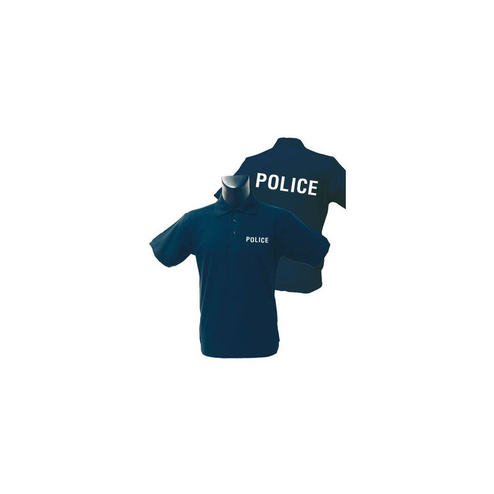 Polo Police coton noir broderie blanche